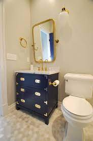 Guest Bath With Custom Campaign Style Vanity Transitional Bathroom Dc Metro By Michael Molesky Interior Design Houzz