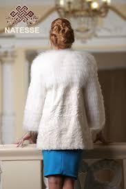 round neckline lamb saga fox fur coat