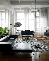 White And Black Living Room Furniture Create Drama With Black Carpets And Rugs