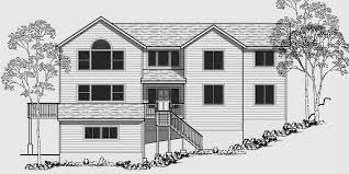 house front color elevation view for 10070 sloping lot house plans house plans with side