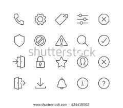 stock vector simple set of interface related vector line icons contains such icons as settings log in log 424419562 notice stock images, royalty free images & vectors shutterstock on warning notice template