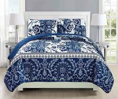Mk Collection 3pc Bedspread coverlet quilted Floral White Navy ... & Mk Collection 3pc Bedspread coverlet quilted Floral White Navy Blue Bedding Adamdwight.com