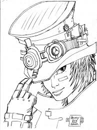 Steampunk Men Coloring Pages Sketch Coloring
