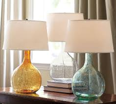 the pottery barn eva colored glass table lamp 99 has subtle inside enchanting glass