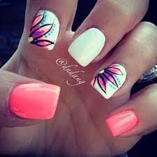 give a fresh look on your nails with this amazing looking summer nail art design