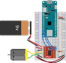 lab dc motor control using an h bridge itp physical computing breadboard view of a tb6612 h bridge controlling a dc motor