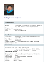 Gallery Of Work Experience Resume Example