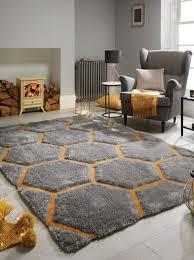 flair rugs verge honeycomb grey ochre rugs