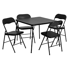flash furniture 5 piece black folding card table and chair set hayneedle