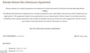 Sample Mutual Non Disclosure Agreement Simple Non Disclosure ...