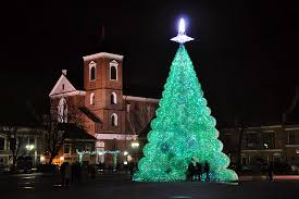 unique christmas lighting. Terrific Unique Christmas Trees With Green Lights As Monument Lighting A