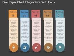 Chart Paper Presentation Al Five Paper Chart Infographics With Icons Flat Powerpoint