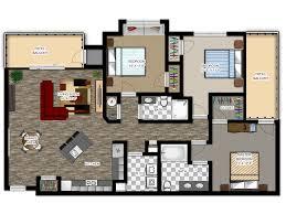 Inspiring Apartment Plans 3 Bedroom