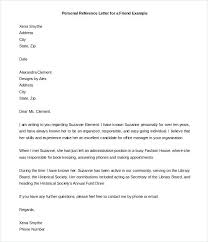 Letters Of Recommendation Personal Letter Format Personal Reference Example Letters For