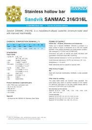 Sandvik Sanmac 316 316l Tender Indonesia