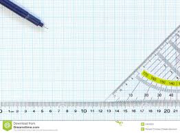 Engineering Graph Paper With Ruler And Pens Stock Image Image Of