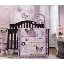 bedroom attractive baby crib bedding with lavender color erfly motives and dark bed frame little girl