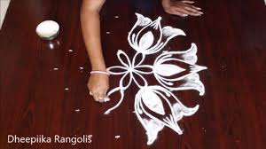 Small Kolam Designs For Apartments Simple Easy Lotus Rangoli With 7x4 Dots Ll Small Daily