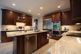 kitchen remodel with granite countertops and cherry cabinets