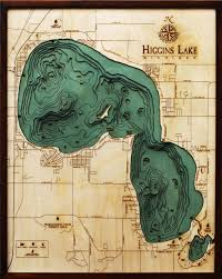 Lake Mi Depth Chart Higgins Lake 3 D Nautical Wood Chart 24 5 X 31