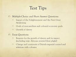 apush review key concept ppt video online  test tips multiple choice and short answer questions essay questions