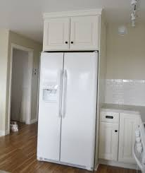 white fridge in kitchen. free plans to build your own kitchen cabinets - standard sized above the fridge cabinet from ana-white.com white in