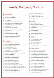Wedding Photography Shot List Template For Word | Weddings ...