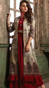 Punjabi Suit With Long Jacket Design Beautiful Long Jacket Paired With Top And Plazo Pant