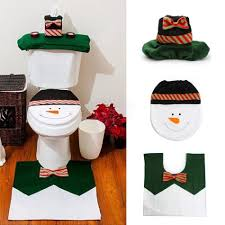 yeduo 1 sets happy snowman bathroom set toilet seat cover rug xmas decoration year decorations