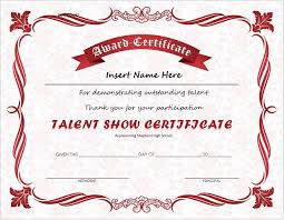 Principal Award Certificate Talent Show Award Certificates For Ms Word Professional