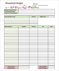 Budget Forms To Print Home Budgeting Template Under Com Household Budget Templates