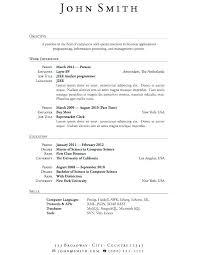 Simple Sample Of Resume Resume Simple Sample Resume For Job ...