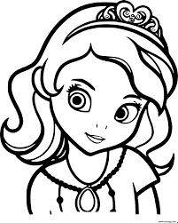 Coloriage Princesse Sofia De Face Portrait Visage Dessin