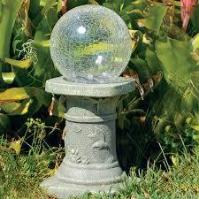grey concrete gazing ball stands for garden decoration ideas