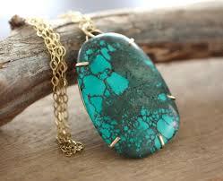 large natural tibetan turquoise pendant