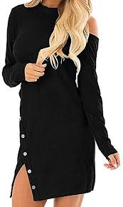 Fitfulvan Women's Backless Side Split Button Dress ... - Amazon.com