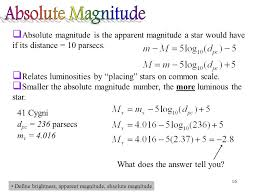 apparent brightness equation. absolute magnitude is the apparent a star would have if its distance \u003d brightness equation i