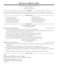 Sample Doctor Resume Medical Resume Template Physician Impressive Example Assistant