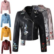 whole women faux leather jacket embroidery biker jackets aviator coat new short motorcycle coats with belt female s xl jaqueta couro women faux leather