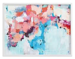 pink and blue abstract painting art prints