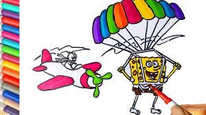 Download now mewarnai gambar pemandangan khas indonesia alamendah s blog. Cara Menggambar Dan Mewarnai Spongebob Terjun Payung Learn Colors For Cara Menggambar Spongebob Terjun Payung