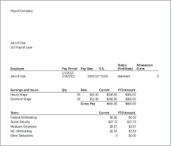 Payroll Pay Stub Template Free Check Sample And Paycheck