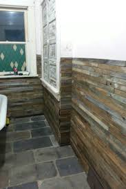 reclaimed lath wall. reclaimed wood lath walls and slate roof flooring in the bathroom...almost finished wall pinterest