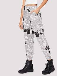 Newspaper Print Tapered Pants