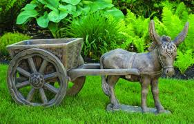 donkey garden ornaments pretty donkey with cart garden sculputure