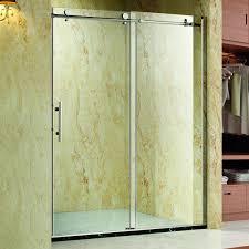homcom frameless glass sliding shower door polished stainless 48 width 5 16