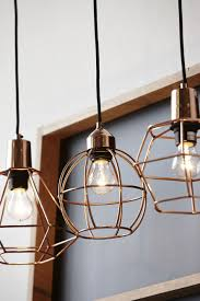 hanging copper cage lights