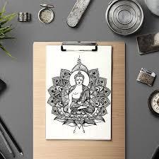 Buddha Mandala Květiny Návrh Tetování Na Zakázku A4 Děkuji