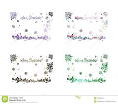 Merry Christmas Banner Print Set Of Sparkling Silhouette Frames With Winter Village And Greeting