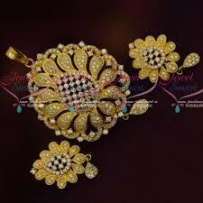 ps11718 dazzling white american diamond fashion jewellery low cost pendant sets